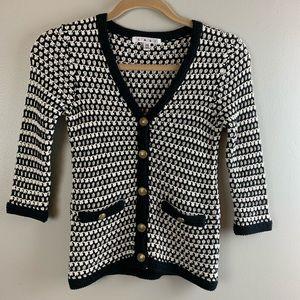 CAbi CoCo Cardigan / black & white sweater